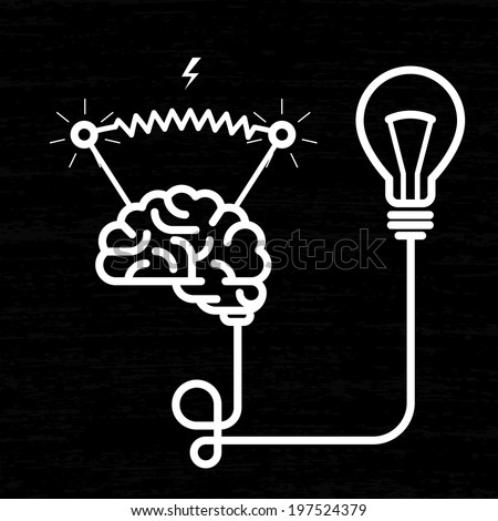 Invention - electricity of brain, light bulb and electric voltage - stock vector