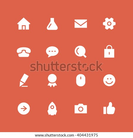 Invert website vector icon set. Different white symbols on the colored background. - stock vector