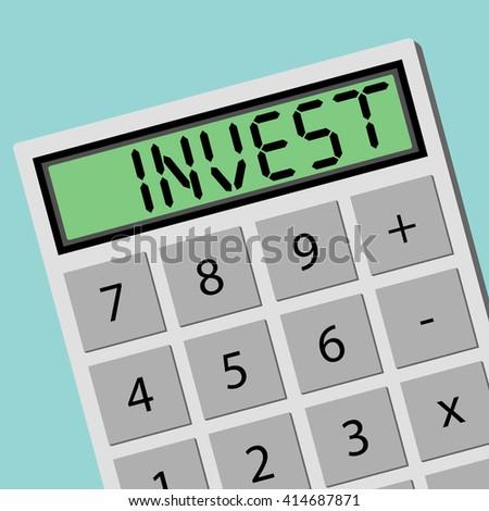 INVEST calculator calculating machine. Flat design business financial marketing banking concept cartoon illustration. - stock vector