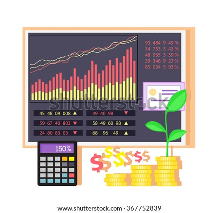 Invest in shares concept icon flat design. Investment in business, money and finance, data chart, graph financial, market infographic, information and profit, economic accounting illustration - stock vector