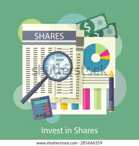 Invest in Shares. Tables, reports, charts of share price. Detailed analysis through a magnifying glass. Flat design on the stylish colored background. For banners, brochures, book covers, layouts etc - stock vector