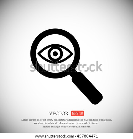 Investigate vector icon. Flat style rounded symbol - stock vector