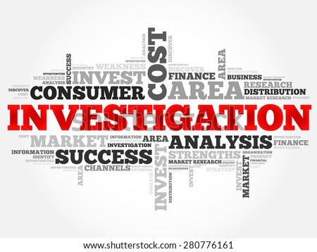 Investigation word cloud, business concept - stock vector