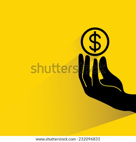investing concept, hand holding dollar coin on yellow background, flat and shadow theme - stock vector