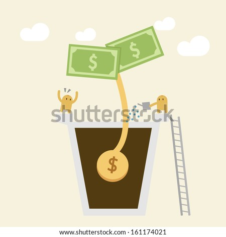 Investment Concept. Watering a small money plant