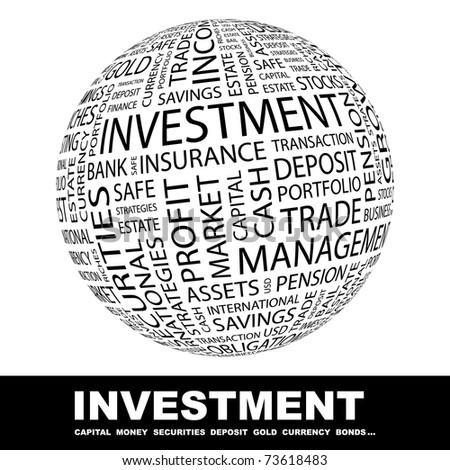 INVESTMENT. Globe with different association terms. Wordcloud vector illustration. - stock vector