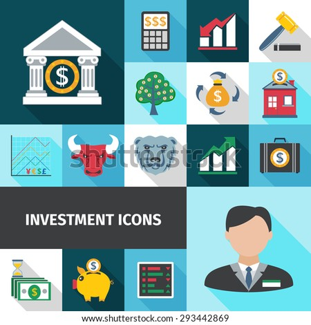 Investment graphic portfolio money tree and coin box color flat long shadows icon set isolated vector illustration - stock vector