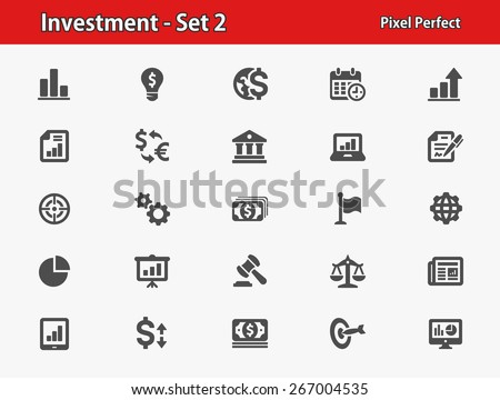 Investment Icons. Professional, pixel perfect icons optimized for both large and small resolutions. EPS 8 format. - stock vector