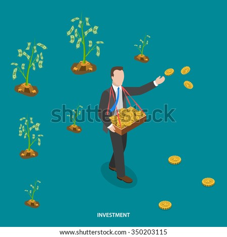Investment isometric flat vector concept. Man is walking and sowing coins to grow money trees. Making investments, business growing,  crowdfunding, financial strategy. - stock vector