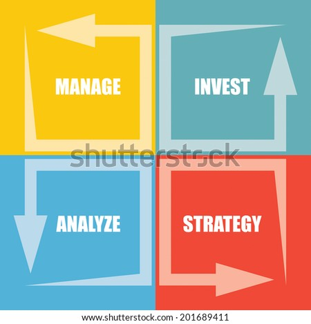 Investment package - abstract illustration with color chart with arrows - stock vector