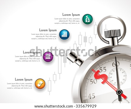 Investment process on the stock exchange - stopwatch with dollar sign - time for business concept - stock vector