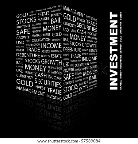 INVESTMENT. Word collage on black background. Illustration with different association terms. - stock vector