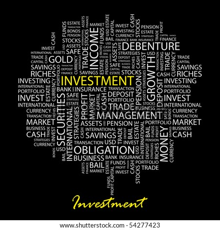 INVESTMENT. Word collage on black background. Vector illustration. - stock vector