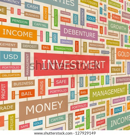INVESTMENT. Word collage. Vector illustration. - stock vector