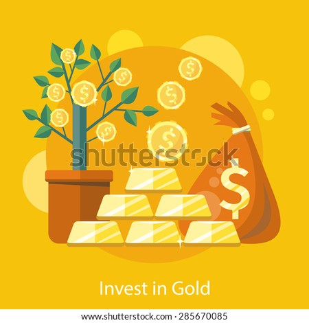 Investments in Gold. Dollar tree grows in pot and bag of money.  Investments idea icon in flat design on the stylish background with coins and gold bullion. For web design, graphic design   - stock vector