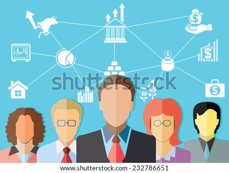 investor, financial consultant, business management concept - stock vector