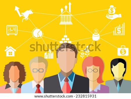 investor, financial diagram, business management concept, yellow background - stock vector