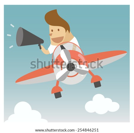 Investor with a megaphone, business and finance concept - stock vector