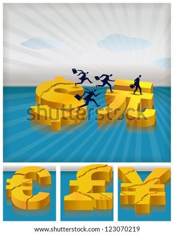 Investors of all economies migrating to China's economy - stock vector