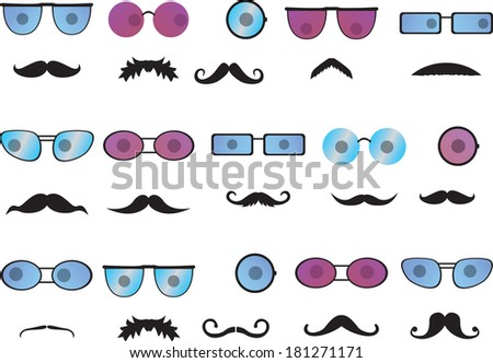 Invisible faces with mustache and colored glasses - stock vector
