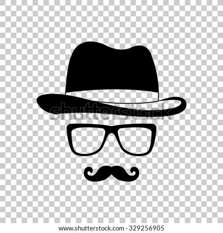 invisible man with hat glasses and mustaches vector icon - black illustration - stock vector