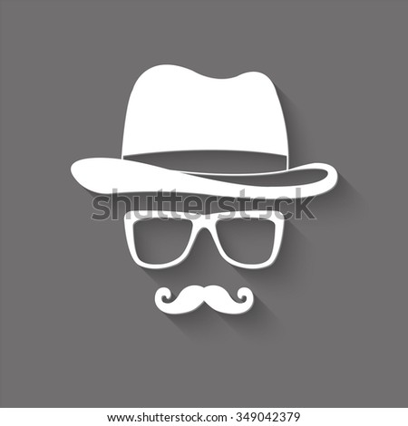 invisible man with hat glasses and mustaches vector icon with shadow - stock vector