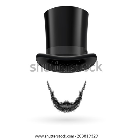 Invisible man with Lincoln beard wearing top hat. - stock vector