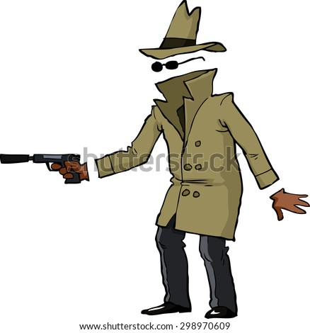 Invisible spy with a gun vector illustration - stock vector