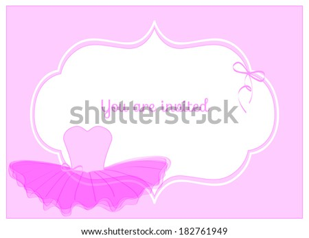 invitation birthday party card with pink leotard with ribbon and pink tulle tutu - stock vector