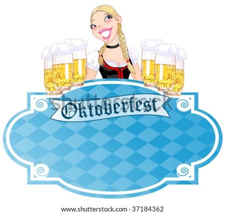 Invitation car¬d to the Oktoberfest - stock vector