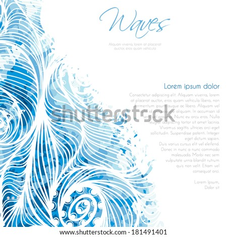 Invitation card background template with water waves