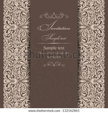 Invitation card baroque beige and brown - stock vector
