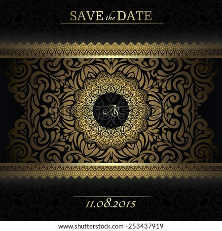 Invitation card Baroque Golden and black, Vintage frame, border, design elements - stock vector