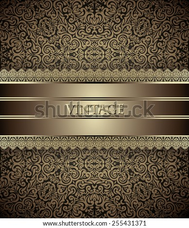 Invitation card Baroque Golden and brown, Vintage frame, border, design elements - stock vector