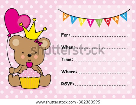 Slumber party invitation card birthday invitation stock vector invitation card birthday girl stopboris Choice Image