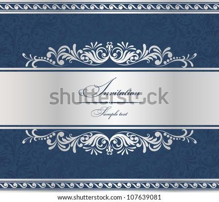 Invitation Card blue baroque - stock vector