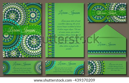 Invitation card collection with ethnic hand drawn decorative elements. Islam, Arabic, Indian, ottoman motifs.