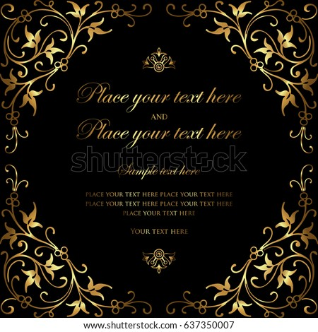 Invitation card design luxury black gold stock vector royalty free invitation card design luxury black and gold vintage style stopboris Gallery
