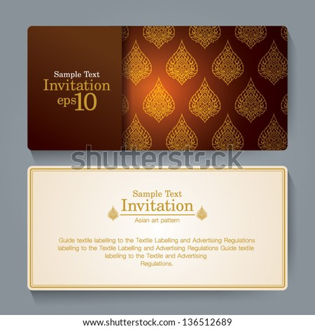 Invitation card design, Thai art background, Thai gold ornament. - stock vector