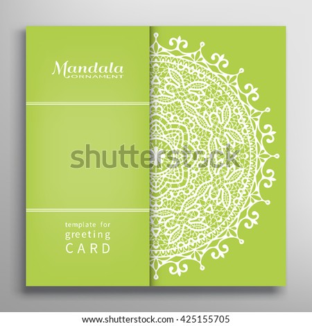 Invitation Card design with lace pattern. Decorative abstract background mandala element, luxury postcard with lace texture for Wedding, Valentine's day, Birthday Invitations. Islamic greeting card  - stock vector