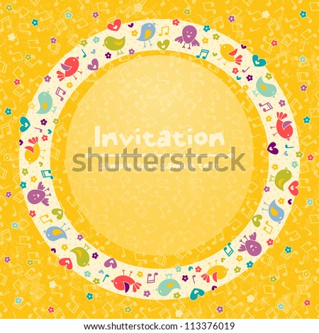 Invitation card for children's parties,  birthday, and other events. EPS 10 vector illustration - stock vector
