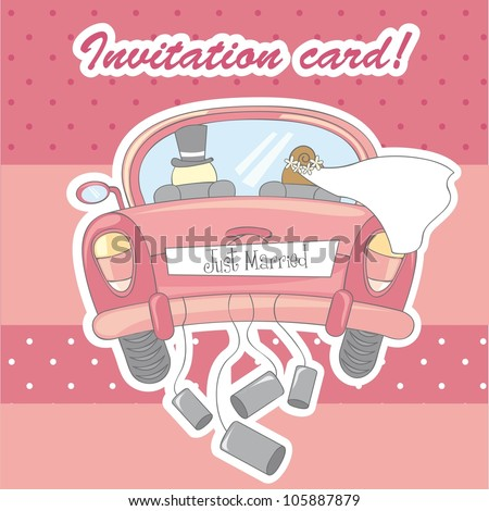 invitation card for marriage over pink background. vector - stock vector