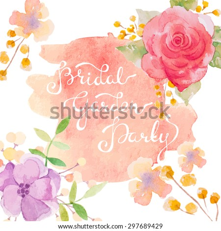 Invitation card for wedding with watercolor flowers - stock vector