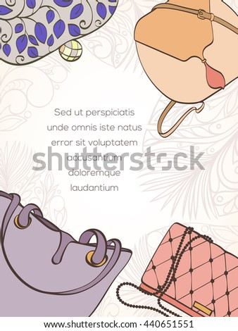 Invitation card women bag shop card stock vector 2018 440651551 invitation card for women bag shop card can be used for holiday cards shopping stopboris Choice Image