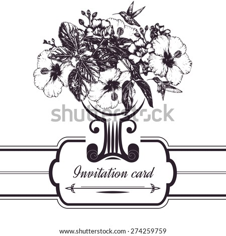 Invitation card. Graphic design. Vintage frame. Floral background. Hand-drawn vector illustration with flowers and hummingbirds - stock vector