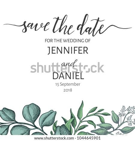 invitation card hand drawn eucalyptus succulentのベクター画像素材