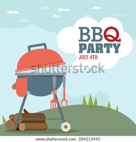 Invitation card on the barbecue - stock vector