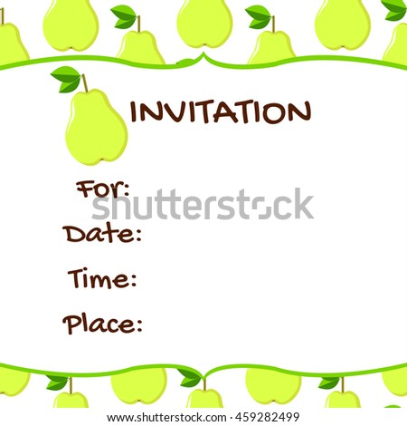 Invitation card. Pear colorful background