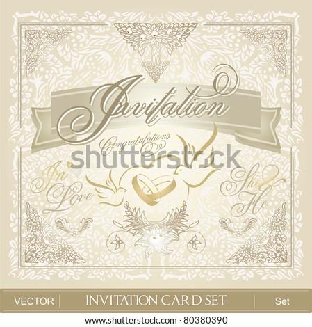 Invitation Card Set - stock vector