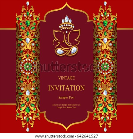 Invitation card template gold ganesha patterned stock vector 2018 invitation card template with gold ganesha patterned and crystals on paper color stopboris Images